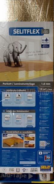 Selitflex gold Parkett-/ Laminat-Unterlage 1,6 mm, 15 m² + Klebe