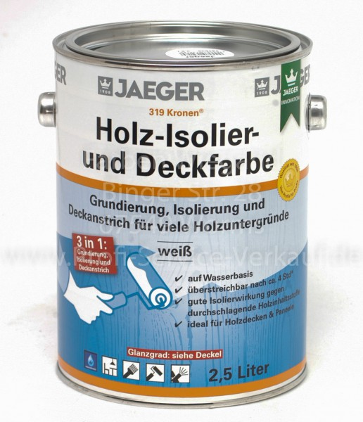 Kronen® Holz-Isolier- und Deckfarbe matt weiß, 2.5 l