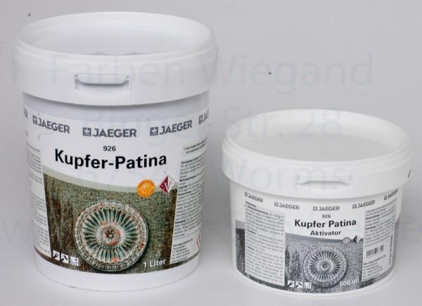 Jaeger Kupfer-Farbe mit Grünspan Patina  1 l + Aktivator 0,5 l