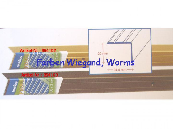 Alu-Winkelprofil für Treppenkanten, bronze, gelocht 100 x 2,5 x 2 cm