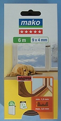 MAKO Fenster- und Türdichtung, E-Profil, 6 m,  braun