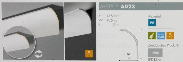NMC Arstyl® lineares Zierprofill AD23 200x11,5x18,5 oder 200x18,5x11,5 cm