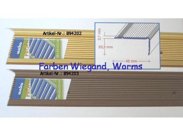 Alu-Treppenkantenprofil 100x4,5x2,3cm, gold, gelocht