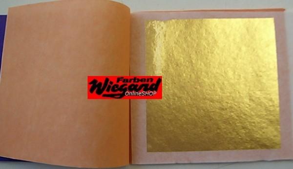 Transfer Blattgold 24 Karat, Büchel mit 25 Blatt, 80x80 mm