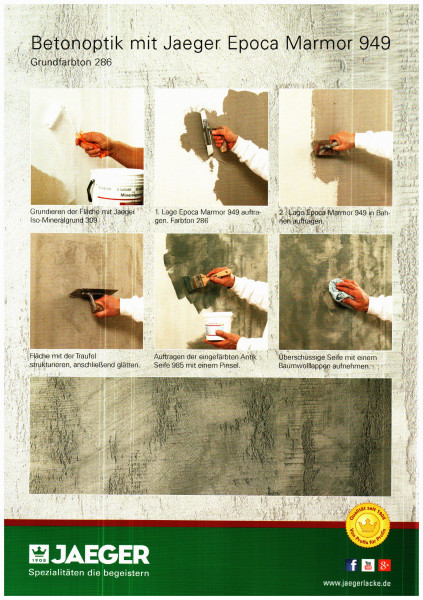 Spachteltechnik Epoca Marmor Farbtöne / Verarbeitung