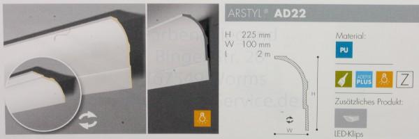 NMC Arstyl® lineares Zierprofill AD22 200x22,5x10 oder 200x10x22,5 cm