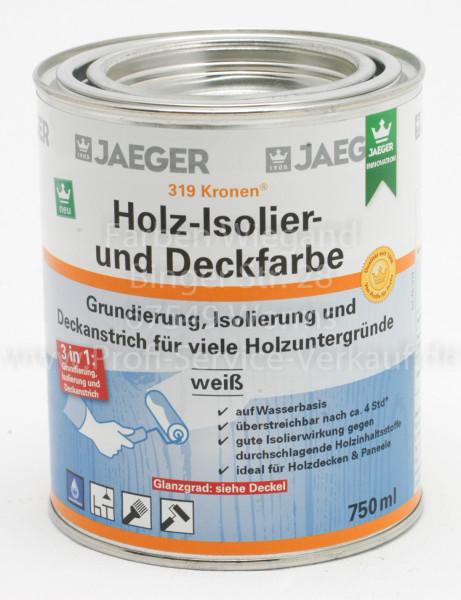 Kronen® Holz-Isolier- und Deckfarbe matt weiß, 750 ml